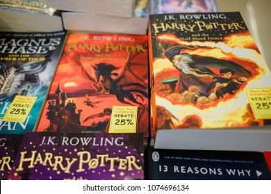 KUALA LUMPUR, MALAYSIA - December 31st, 2017:    The book 'Harry Potter ' on display at Popular Bookstore, Kuala Lumpur. Popular is one of the largest retail booksellers in Malaysia.