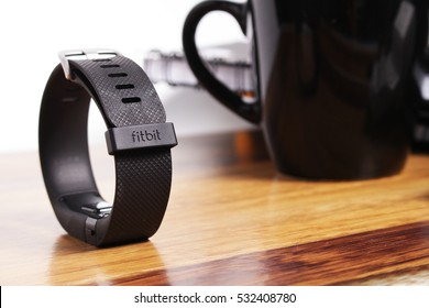 KUALA LUMPUR, MALAYSIA - DECEMBER 9TH, 2016. Fitbit Wearable. Fitbit is an American Wearable manufacturer company, founded in October 2007.