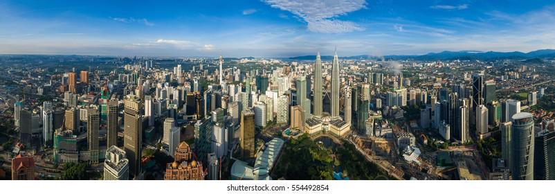 Kuala Lumpur, Malaysia - DecemberDecember 25, 2016 : panorama view of Kuala Lumpur city center , Malaysia