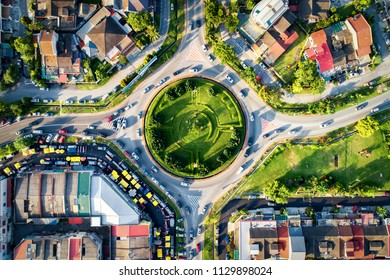 Kuala Lumpur, Malaysia - Drone flying above junction