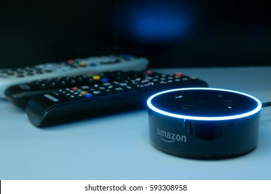 Kuala Lumpur, Malaysia - Fabruary 24 : Selective focus on Amazon Echo dot version 2, the voice recognition streaming device from Amazon on table . February 24 2017 in Kuala Lumpur, Malaysia