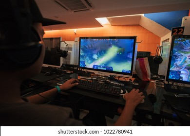 KUALA LUMPUR, MALAYSIA - FEB 12TH, 2018: Unidentified man playing Dota 2 online.It is a free to play multiplayer online battle arena video game developed and published by Valve Corporation.