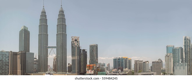 KUALA LUMPUR, MALAYSIA - Feb 15, 2016 : Magnificent view of capital city of Malaysia, Kuala Lumpur skyline