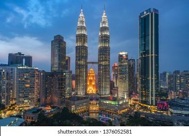 KUALA LUMPUR, MALAYSIA – FEB 19 2019: Kuala Lumpur City Night Cityscape of TwinTowers KL Petronas KLCC