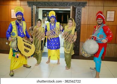 Kuala Lumpur, Malaysia - FEB 19:Close up of the Asli Bahara Punjab Diya dancers performing traditional dances from the Punjab.Part of the Malay wedding ceremony. Feb 19, 2016 in Kuala Lumpur, Malaysia