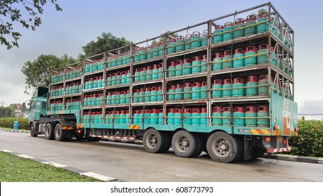 Kuala Lumpur, Malaysia - Feb 2017: 14 Kilogram LPG Petronas gas cylinders on the transportation truck to be distributed in Peninsular Malaysia.
