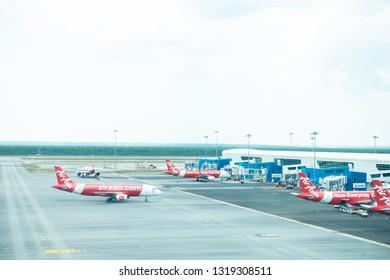 Kuala Lumpur, Malaysia - Feb 2019: Air Asia aircrafts docking at KLIA2, Kuala Lumpur International Airport 2