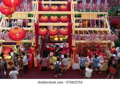 KUALA LUMPUR, MALAYSIA - FEB 21, 2016: Booths selling festive items at Pavillion shopping mall, Kuala Lumpur Malaysia during Chinese New Year.