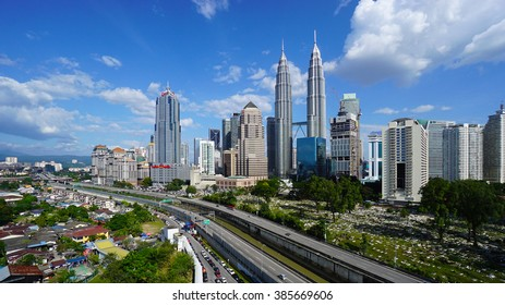 KUALA LUMPUR, MALAYSIA, Feb 25, 2016 : Petronas Twin Towers at morning with beautiful sky on Feb 25, 2016 in Kuala Lumpur. Petronas Twin Towers also known as KLCC is the tallest building in Malaysia