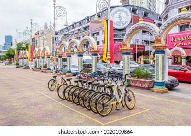 Kuala Lumpur, Malaysia - Feb 7,2017 : A row of obike are parking in Brickfields Little India in Kuala Lumpur.