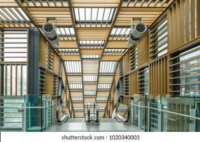 Kuala Lumpur, Malaysia - Feb 7,2017 : Nu Sentral escalator in KL Sentral,it is probably KL most photographed escalator.Nu Sentral is the latest trendy shopping mall in the ever-bustling Kuala Lumpur.