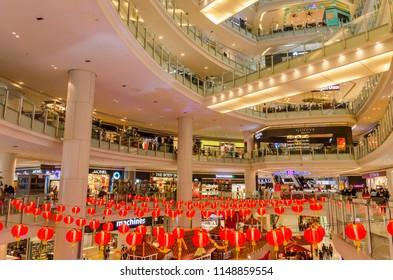 Kuala Lumpur, Malaysia - Feb 7,2017 : Nu Sentral is the latest trendy shopping mall in the ever-bustling Kuala Lumpur. It is the Malaysia's largest rail transport hub.