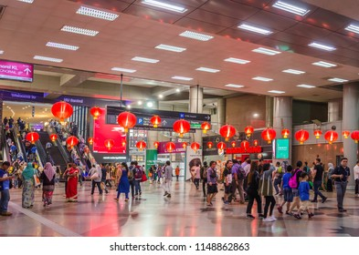 Kuala Lumpur, Malaysia - Feb 7,2017 : Nu Sentral is the latest trendy shopping mall in the ever-bustling Kuala Lumpur. It is the Malaysia's largest rail transport hub.People can seen exploring around.