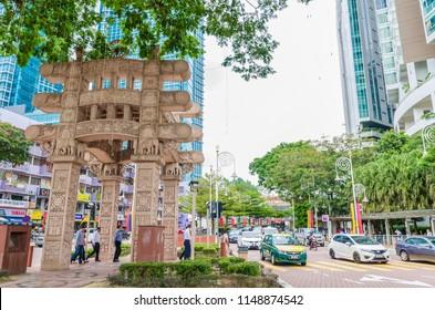Kuala Lumpur, Malaysia - Feb 7,2017 : The Torana Gate in Brickfields Little India Kuala Lumpur. It is a gateway  to India-Malaysia Friendship. People can seen walking around it.
