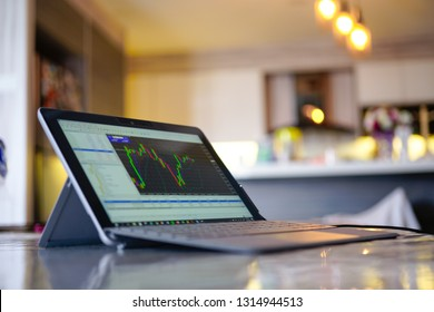 KUALA LUMPUR, MALAYSIA - FEB 8TH, 2019 : Trading forex with METATRADER 4 on Microsoft Tablet Surface go. Surface Go is the most user friendly which good for people on the go.
