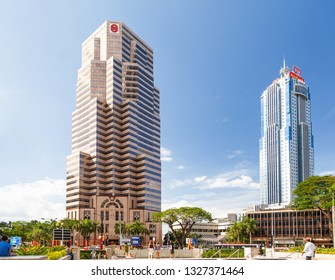 KUALA LUMPUR, MALAYSIA - February 01, 2013. Skyscraper buildings of Public Bank Berhad and AmBank Tower, largest banks in Southeast Asia.