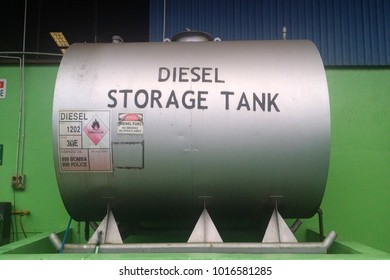KUALA LUMPUR, MALAYSIA, FEBRUARY 02 2018 : Storage tank that has safety bar that lifting the tank above the ground
