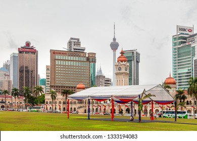 KUALA LUMPUR, MALAYSIA - February 04, 2013.Sultan Abdul Samad Building, skyscrapers of OCBC Bank, CIMB bank, Wisma Lee Rubber tower, HSBC bank. Architectural landmarks on Dataran Merdeka, Independence