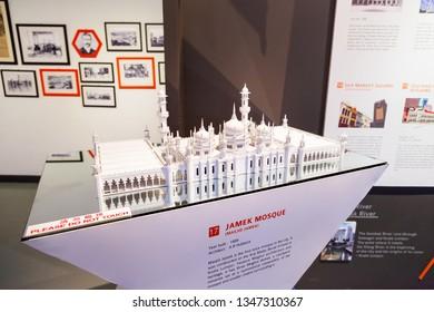KUALA LUMPUR, MALAYSIA - February 04, 2013. Architectural model of Jamek Mosque or Masjid Jamek. It's on display at City Gallery.