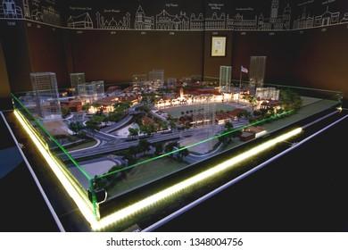 KUALA LUMPUR, MALAYSIA - February 04, 2013. Architectural model of Dataran Merdeka, Independence square of Kuala Lumpur. It's on display at City Gallery.