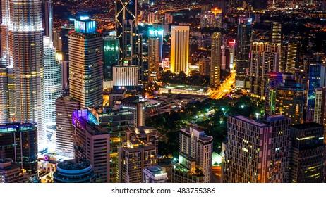 KUALA LUMPUR, MALAYSIA - FEBRUARY 07, 2016: Aerial cityscape at night on February 07, 2016 in Kuala Lumpur, Malaysia.