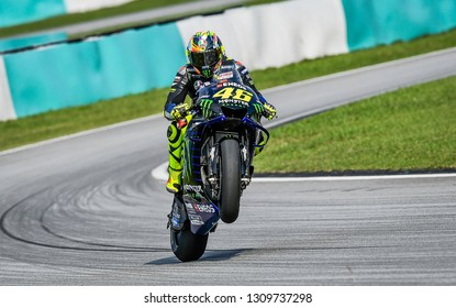Kuala Lumpur, Malaysia - February 08, 2019 : Yamaha Factory Racing Italian rider Valentino Rossi in action during the 2019 MotoGP pre-season testing at the Sepang International Circuit