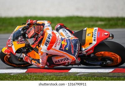Kuala Lumpur, Malaysia - February 08, 2019 : Repsol Honda Team Spanish rider Marc Marquez during the 2019 MotoGP pre-season testing at the Sepang International Circuit