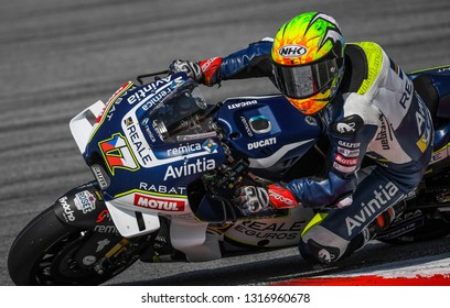 Kuala Lumpur, Malaysia - February 08, 2019 : Karel Abraham of Reale Avintia Racing during the 2019 MotoGP pre-season testing at the Sepang International Circuit