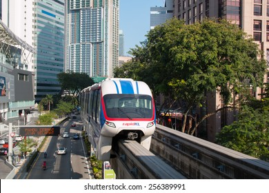 KUALA LUMPUR, MALAYSIA - FEBRUARY 08, 2015: Monorail in the city center