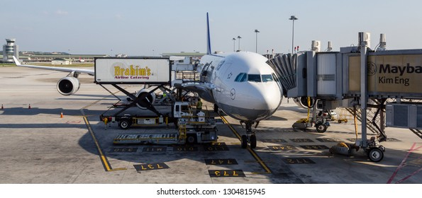 Kuala Lumpur, Malaysia - February 1 2015: Brahim Airline Catering docking at a Lufthansa Airbus A340-300 at KL International Airport