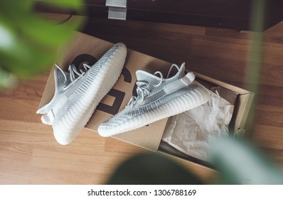 Kuala Lumpur, Malaysia - February 1, 2019 : Unboxing new shoe Adidas Yeezy boost 350 V2 static non - reflective,