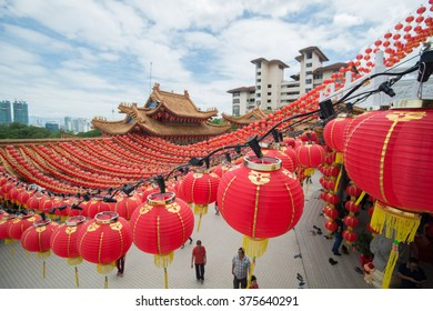 Kuala Lumpur, Malaysia - February 11, 2015: Lanterns inside a chinese templeat Thean Hou Temple during Chinese New Year