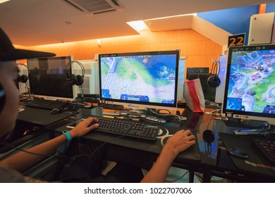 KUALA LUMPUR, MALAYSIA - February 12TH, 2018: Unidentified man playing Dota 2 on steam. Dota 2 is a popular multiplayer 5 vs 5 online battle arena game. Developed and published by Valve Corporation.