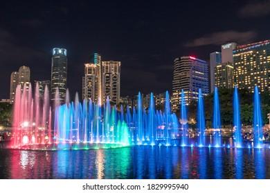 Kuala Lumpur, Malaysia - February 13, 2017: Symphony lake water show within KLCC park in Kuala Lumpur downtown, Malaysia