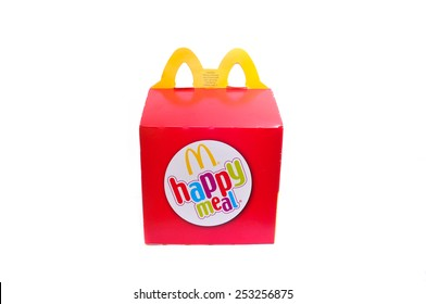 Kuala Lumpur, Malaysia - February 17th, 2015: McDonalds Happy Meal Packaging isolated on a White background