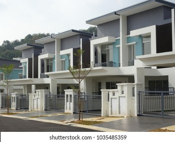 KUALA LUMPUR, MALAYSIA -FEBRUARY 18, 2018: Double story luxury terrace house in Malaysia. Designed by architect with modern and contemporary style.