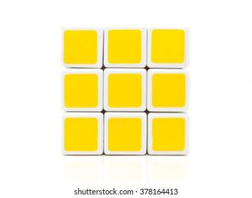 KUALA LUMPUR, MALAYSIA- FEBRUARY, 18, 2016: Rubik's cube with white background