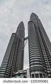 Kuala Lumpur, Malaysia: February 19, 2015 - Beautiful Petronas Twin Tower and Suria KLCC. Petronas world's tallest twin tower.