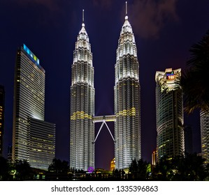 Kuala Lumpur, Malaysia. February 19, 2015. Night view KLCC or Petronas Towers, Petronas are world's tallest twin tower offices and tourist attraction skyscraper 88-floor in Kuala Lumpur.