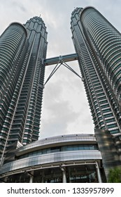 KUALA LUMPUR, MALAYSIA - February 19, 2015: Petronas Twin Towers world's tallest twin tower. The Menara Berkembar Petronas Commercial offices and tourist attraction skyscraper buildings