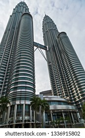 KUALA LUMPUR MALAYSIA , February 19, 2015: Petronas Twin Towers world's tallest twin tower. Petronas Commercial offices and tourist attraction skyscraper buildings in the world from 1998-2004