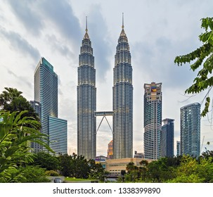 KUALA LUMPUR, MALAYSIA : February 19, 2015 - Aerial view of Kuala Lumpur City and KL Tower, world's tallest twin tower. The Petronas Commercial offices and tourist attraction skyscraper 88-floor.