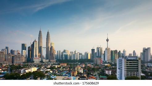 KUALA LUMPUR, MALAYSIA - February 1st: Petronas Twin Towers at sunset on February 1st, 2014 in Kuala Lumpur. Currently the Petronas are the tallest twin towers in the world.