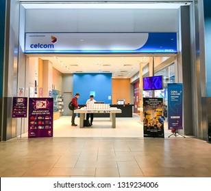 Kuala Lumpur, Malaysia - February 20, 2019; Celcom shop at Kuala Lumpur International Airport 2 (KLIA2). Celcom is the oldest mobile telecommunication company in Malaysia. Selective focus.