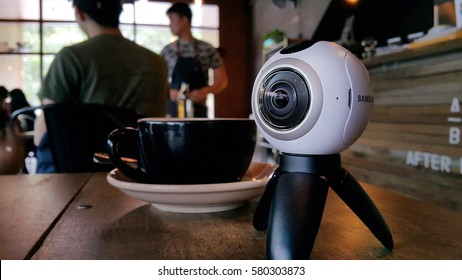 Kuala Lumpur, Malaysia - February 2017: A 360 camera on a coffee table. 360 panoramic content are becoming popular in major social medias.