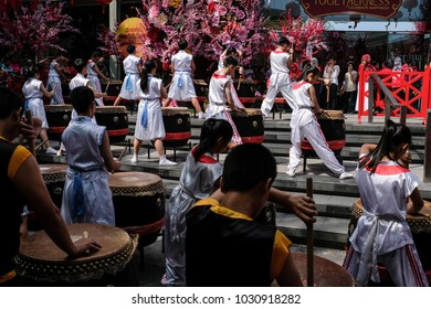 Kuala Lumpur, Malaysia - February 20th, 2018 : Drums performance in front of the shopping mall in conjunction with the Chinese new year celebration in Kuala Lumpur, Malaysia.