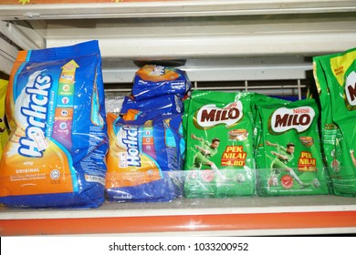 Kuala Lumpur, Malaysia - February 22nd, 2018 : Horlicks and Milo both are brand of energy boost drink on shelf in supermarket.