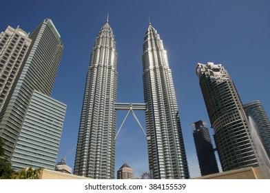KUALA LUMPUR, MALAYSIA: February 25, 2016: Petronas Twin Towers, Kuala Lumpur City Centre on February 25, 2016 in Kuala Lumpur, Malaysia.