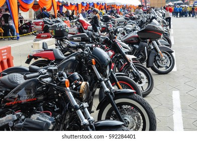 KUALA LUMPUR , MALAYSIA - FEBRUARY 25 , 2017 : Gathering of various model of easy rider class motorcycle and parking in the open area . Most of it is from American made Harley Davidson motorcycle .