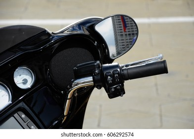 KUALA LUMPUR, MALAYSIA -FEBRUARY 25, 2017: Meter panels and handle bars of various Harley Davidson easy rider motorcycle during its owners gathering in Kuala Lumpur, Malaysia.